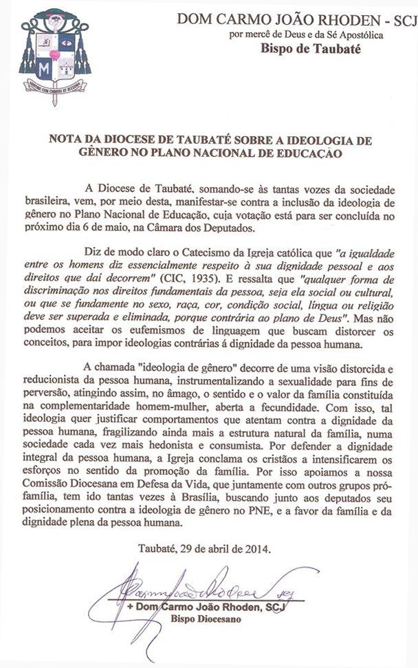 nota-diocese-de-taubate-genero